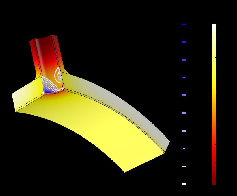 A graphic of the temperature field and plastic strain in a pressure vessel.