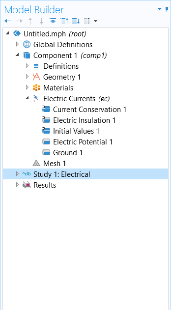A screenshot of the Model Builder in COMSOL Multiphysics, with Study 1: Electrical selected in the model tree on the left and Study 2: Joule Heating selected on the right.