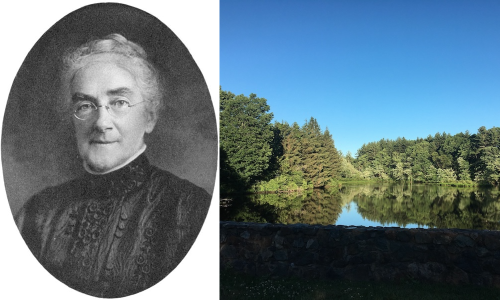 Side-by-side images of Ellen Swallow Richards and a pond near Swallow Union Elementary School in Dunstable.
