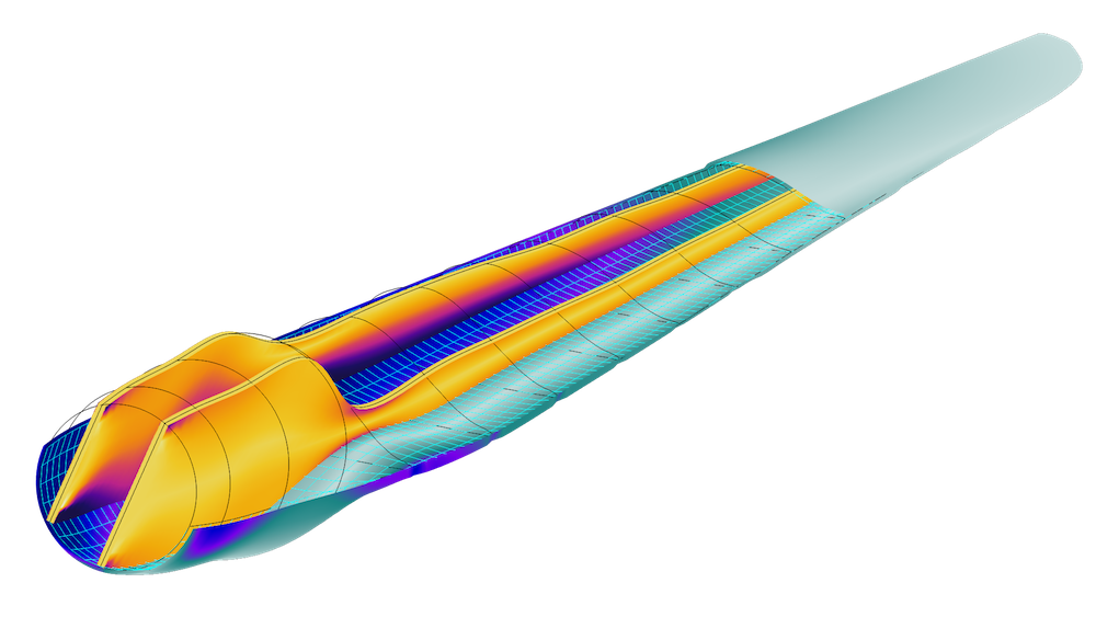 A model of a wind turbine blade modeled with the Composite Materials Module.