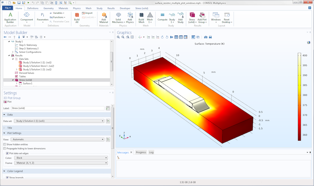 A screenshot of a COMSOL Multiphysics® user interface layout after being reset.