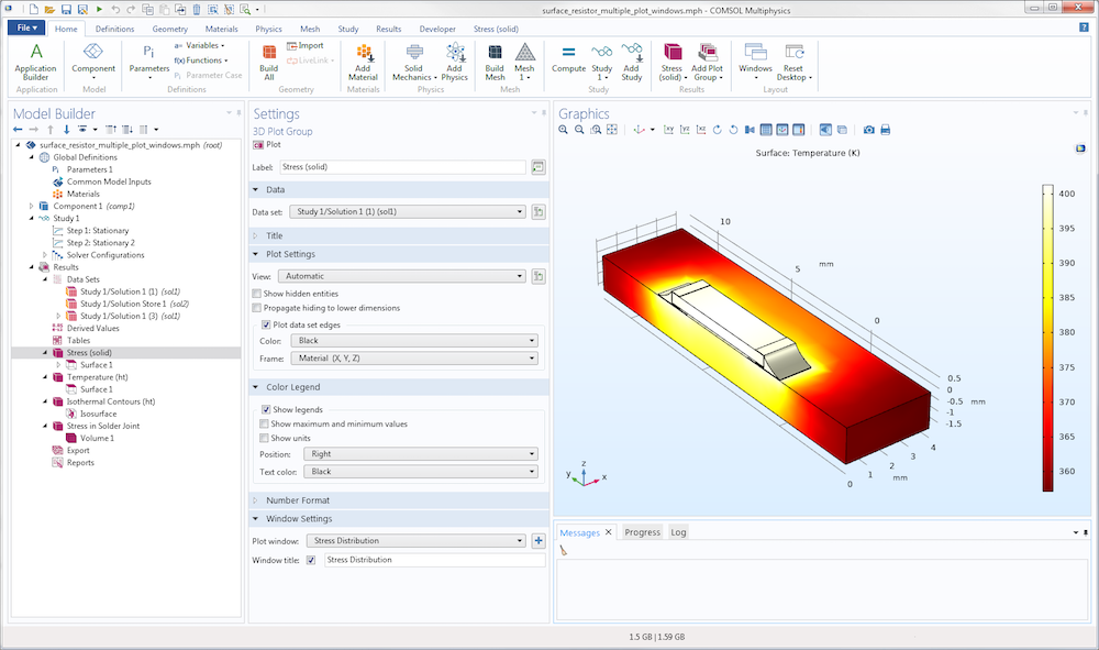 A screenshot of a widescreen layout of the COMSOL Desktop®.