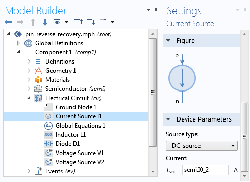 A screenshot of the Current Source Settings window.