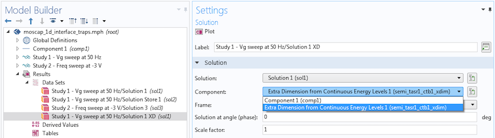 A screenshot showing how to create a dataset in COMSOL Multiphysics.