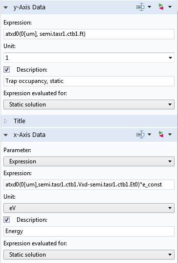 A screenshot of expressions for the x-axis and y-axis data.