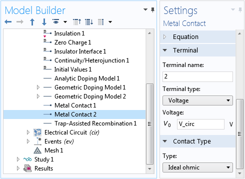 A screenshot of the Metal Contact Settings window.