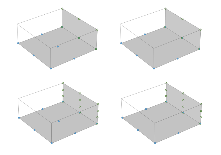 4 images showing the mixed shape discretization elements in COMSOL Multiphysics.