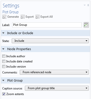 A screenshot of the Plot Group report node settings.