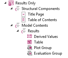 A screenshot of a report template for including simulation results only.