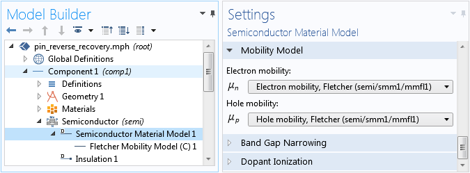 A screenshot of the Semiconductor Material Model settings.