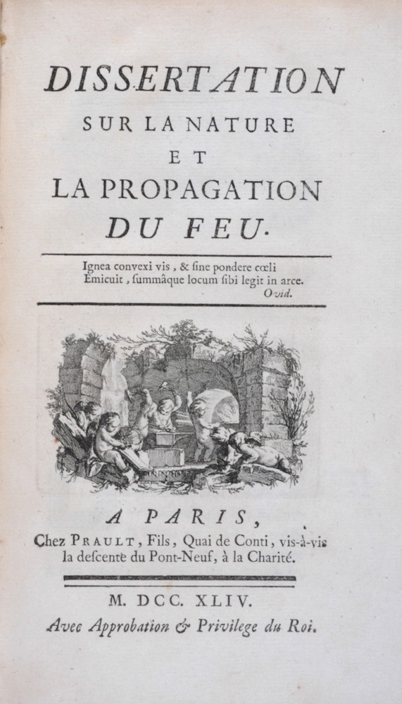 An image of the title page of one of Émilie du Châtelet's scientific essays.