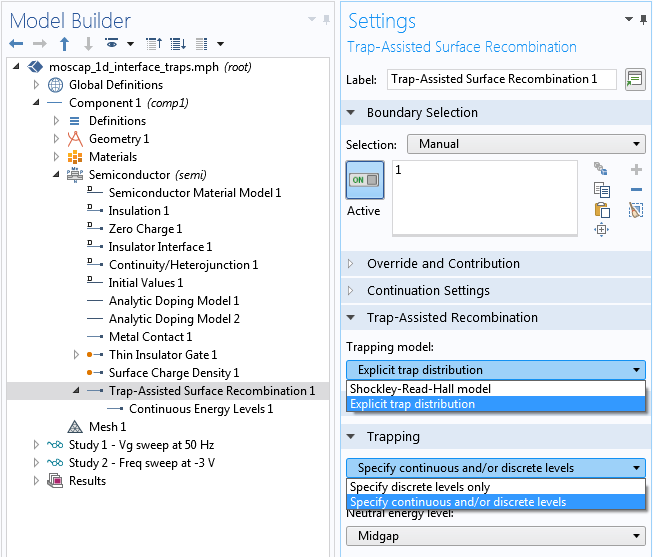 A screenshot of the Trap-Assisted Surface Recombination feature Settings window.