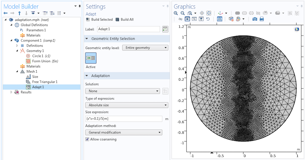 A screenshot of the Adapt operation settings in COMSOL Multiphysics®.