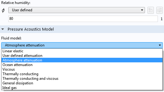 A screenshot of the settings for the attenuation model.
