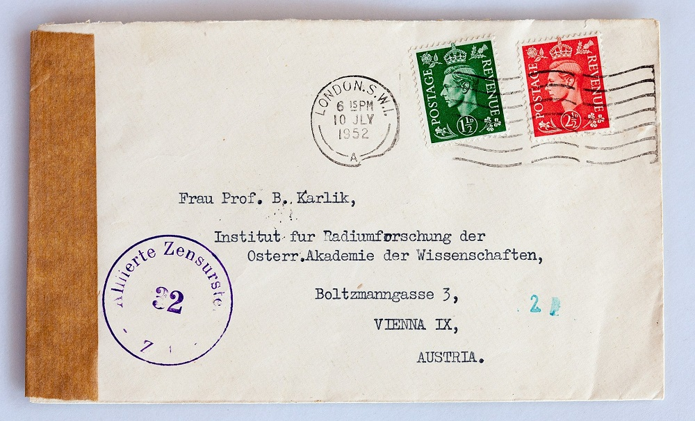 A photograph of a letter addressed to Berta Karlik.