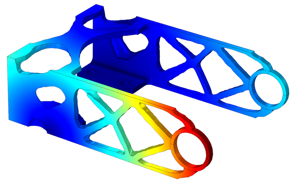 An image of a topology optimization study for a bracket subjected to eight load cases.
