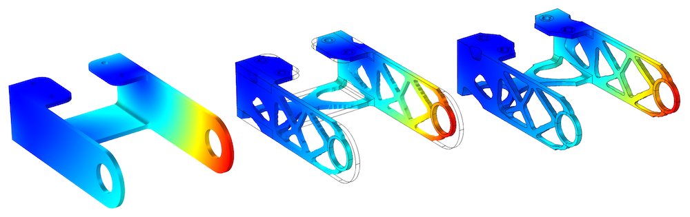 3 side-by-side images showing the topology optimization of a bracket geometry.