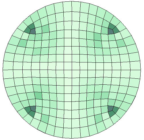 A circle meshed with the default option.