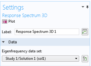 A screenshot showing the Settings window for the response spectrum analysis.