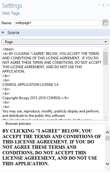 A screenshot of the HTML needed to format a click-through agreement in an application.