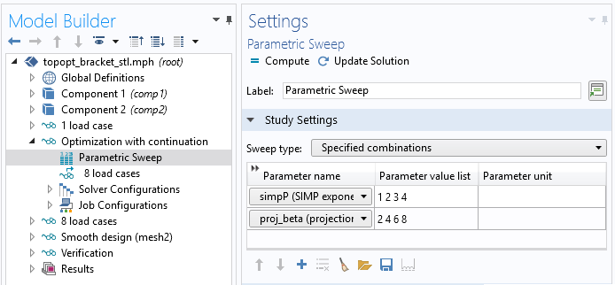 A screenshot of the settings for a parametric sweep with a study reference.
