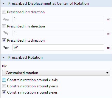 A screenshot of the prescribed motion settings for the piston model.