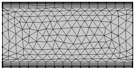 An image of a rectangle with a boundary layer mesh.