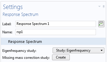 A screenshot of the Settings window for the Response Spectrum node.