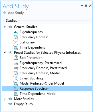 A screenshot of a list of studies with the Response Spectrum option selected.