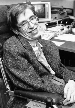 A photograph of Stephen Hawking in the 1980s.
