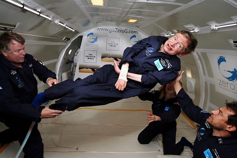 A photograph of Stephen Hawking in the middle of a zero-gravity flight.