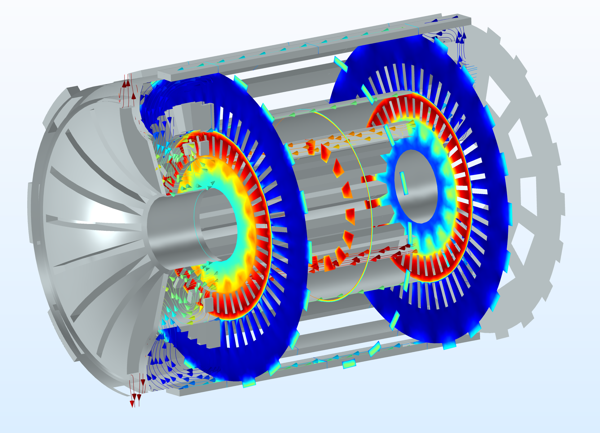 An image of the airflow velocity in an electric motor modeled using COMSOL Multiphysics®.