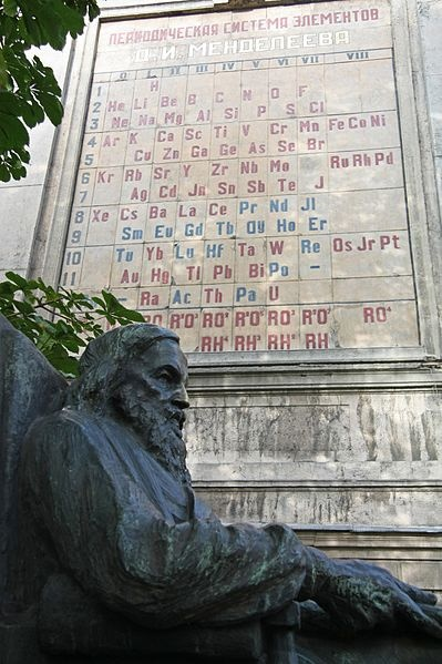 A photograph of a monument to Dmitri Mendeleev in Saint Petersburg.