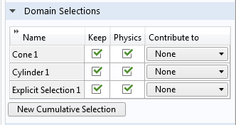 A screenshot of the domain selections for the Cone and Cylinder geometry primitives.