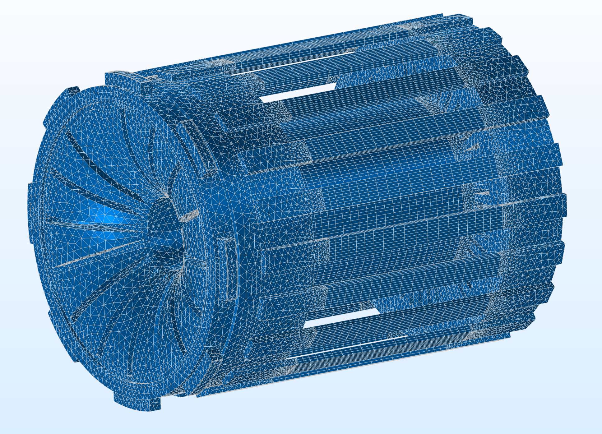 An image showing a fluid flow simulation in an electric motor.