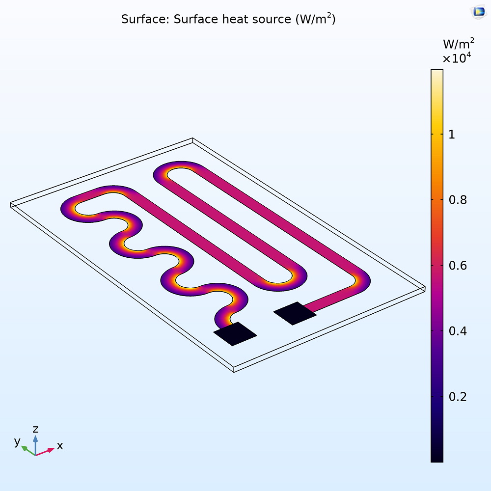 A plot showing the heat generation in the resistive layer of a heating circuit.