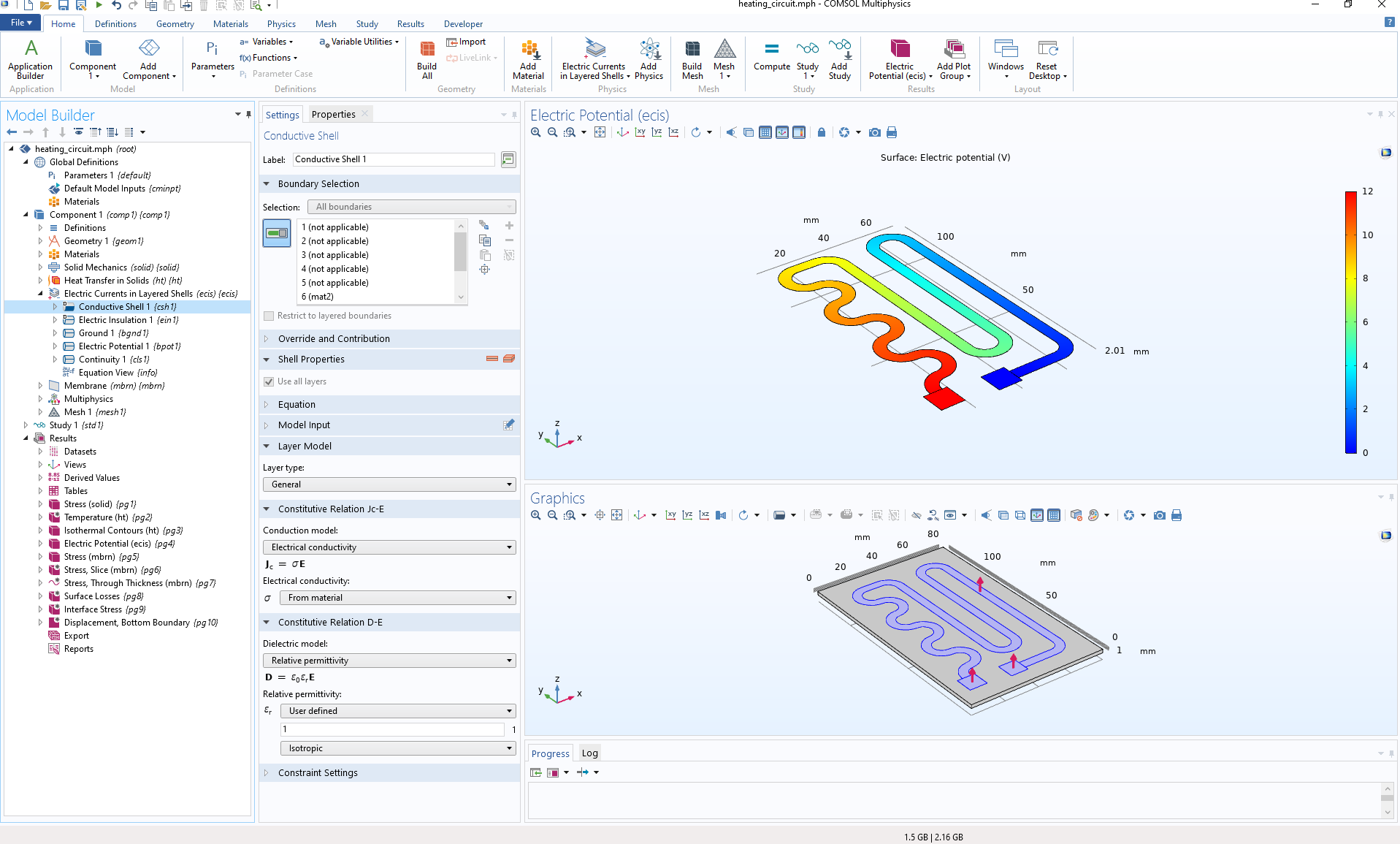 A screenshot of the heating circuit model in COMSOL Multiphysics®.