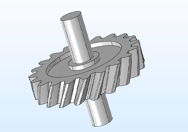 An image of the Helical Gear geometry part available in the COMSOL® software.