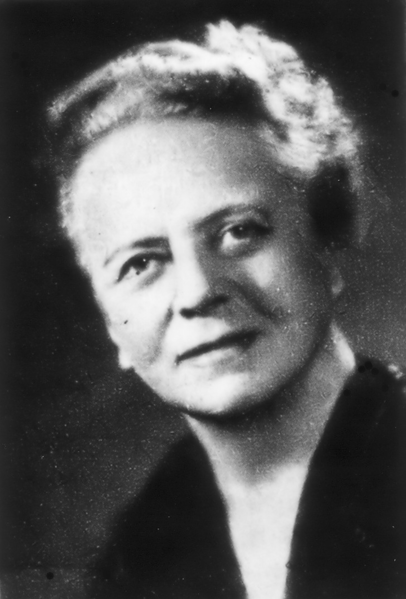 A black and white photograph of chemist Ida Noddack.
