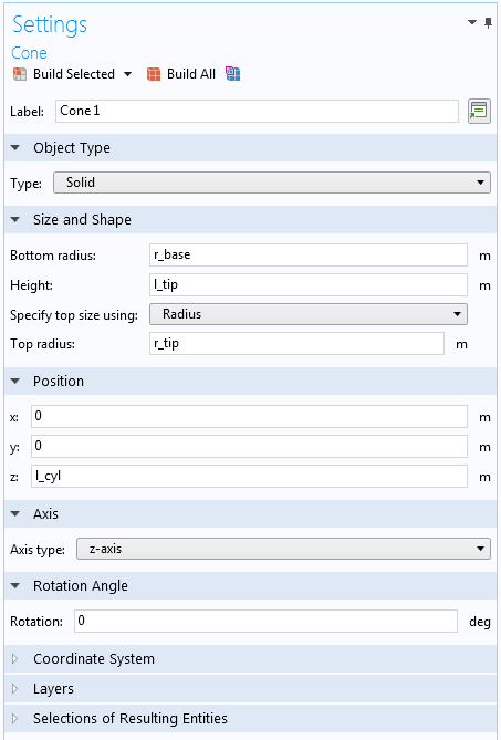 A screenshot of the settings for the top cone geometry input parameters.