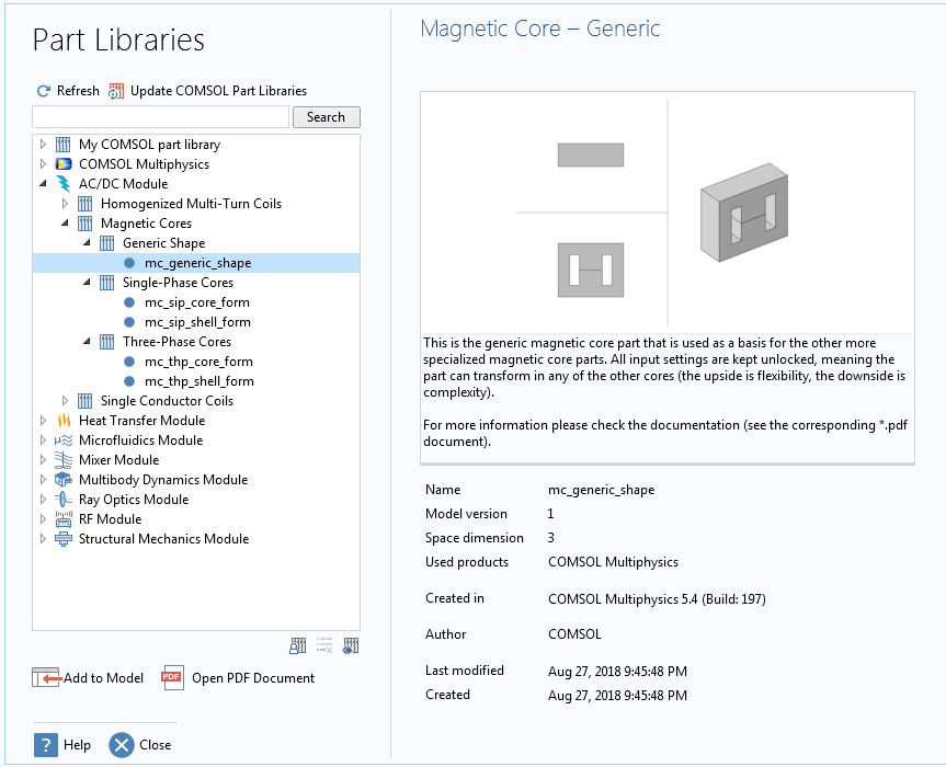 A screenshot of the Part Libraries window with a complex geometry part open.