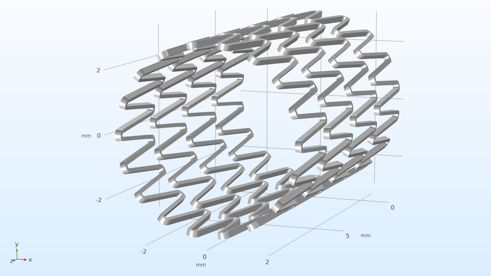An image of the geometry for a self-expanding stent model.