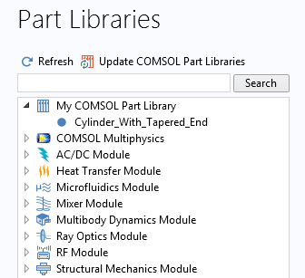 A screenshot of a Part Library in COMSOL Multiphysics with user-defined parts.