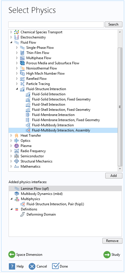 A screenshot showing how to add the Fluid-Multibody Interaction, Assembly interface in the Model Wizard.
