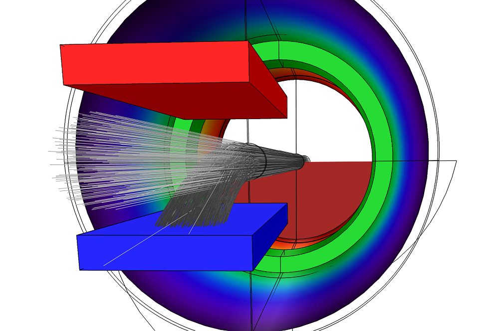 A visualization of the ion behavior in a charge exchange cell in COMSOL Multiphysics®.