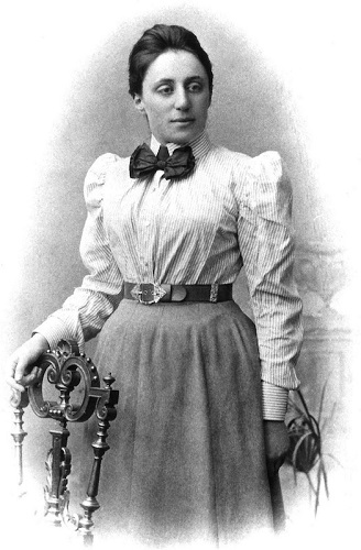 A black and white photograph of Emmy Noether.