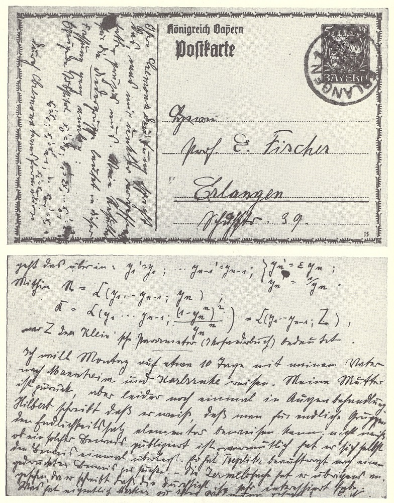 A photograph of a postcard Emmy Noether sent to her friend Ernst Fischer.