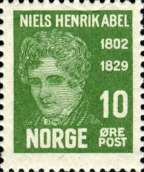 A photograph of a stamp commemorating Niels Henrik Abel.