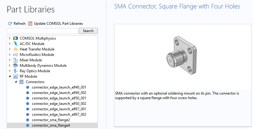 A screenshot of the RF Module Part Library with an SMA connector shown.