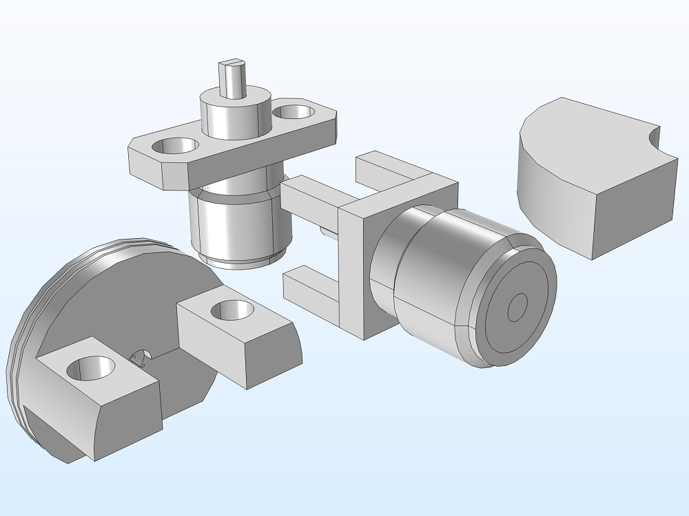 Several parts added to the geometry of an SMA connector.
